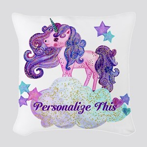 Watercolor Unicorn Monogram Woven Throw Pillow
