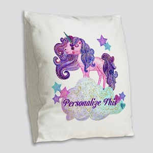 Watercolor Unicorn Monogram Burlap Throw Pillow
