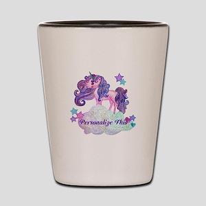Watercolor Unicorn Monogram Shot Glass