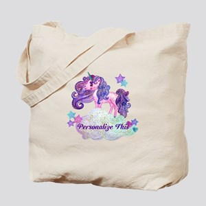 Watercolor Unicorn Monogram Tote Bag