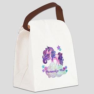 Watercolor Unicorn Monogram Canvas Lunch Bag