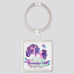 Watercolor Unicorn Monogram Keychains