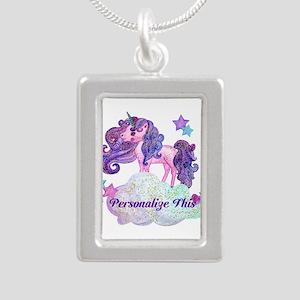 Watercolor Unicorn Monogram Necklaces