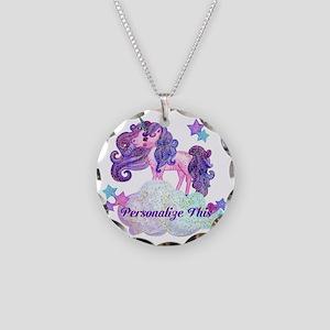 Watercolor Unicorn Monogram Necklace