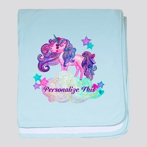 Watercolor Unicorn Monogram baby blanket