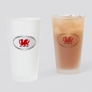 Welsh Dragon Oval Button Drinking Glass