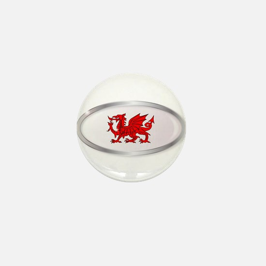 Welsh Dragon Oval Button Mini Button