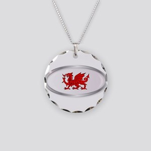 Welsh Dragon Oval Button Necklace Circle Charm