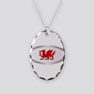 Welsh Dragon Oval Button Necklace Oval Charm