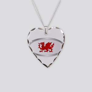 Welsh Dragon Oval Button Necklace Heart Charm