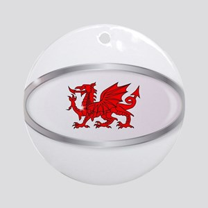 Welsh Dragon Oval Button Round Ornament
