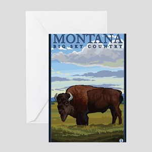 Montana - Bison Greeting Cards