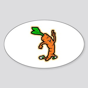 Dancing Carrot Oval Sticker