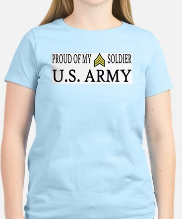 SGT - E5 - Proud of my soldier Women's Pink T-Shir