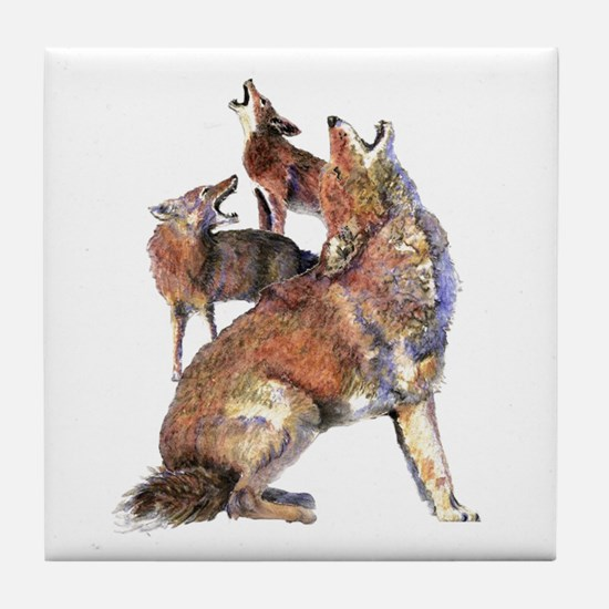 Watercolor Howling Coyotes Animal Ar Tile Coaster