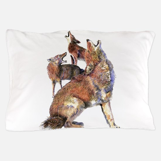 Watercolor Howling Coyotes Animal Art Pillow Case