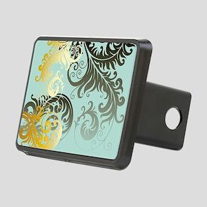 Gold Filigree on Sea Foam Rectangular Hitch Cover