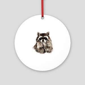 Cute Humorous Watercolor Raccoon Bl Round Ornament