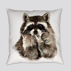 Cute Humorous Watercolor Raccoon B Everyday Pillow