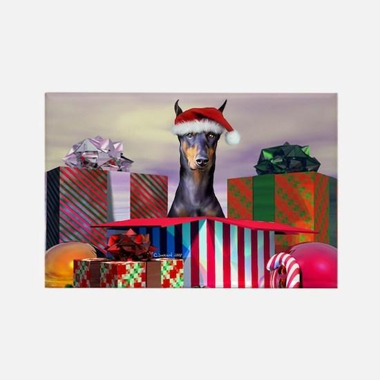 Doberman Christmas Rectangle Magnet
