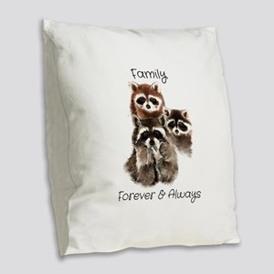 Family Forever Always Quote W Burlap Throw Pillow