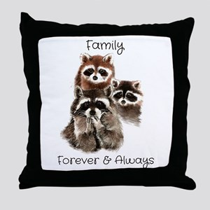 Family Forever Always Quote Watercol Throw Pillow