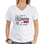 Navy USS Enterprise was hot Women's V-Neck T-Shir