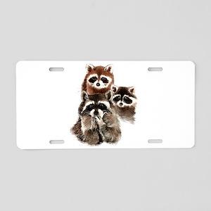 Cute Watercolor Raccoon Ani Aluminum License Plate