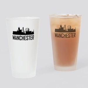 Skyline of Manchester England Drinking Glass