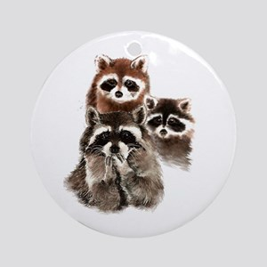 Cute Watercolor Raccoon Animal Fami Round Ornament