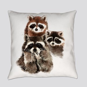 Cute Watercolor Raccoon Animal Fam Everyday Pillow