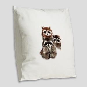 Cute Watercolor Raccoon Animal Burlap Throw Pillow