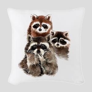 Cute Watercolor Raccoon Animal Woven Throw Pillow