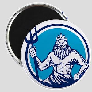 Poseidon Trident Circle Woodcut Magnets