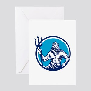 Poseidon Trident Circle Woodcut Greeting Cards