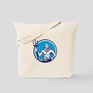 Poseidon Trident Circle Woodcut Tote Bag