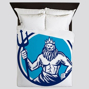 Poseidon Trident Circle Woodcut Queen Duvet