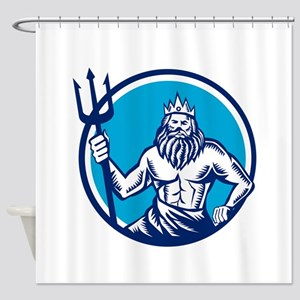 Poseidon Trident Circle Woodcut Shower Curtain