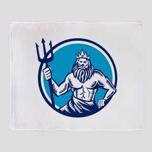 Poseidon Trident Circle Woodcut Throw Blanket