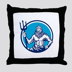 Poseidon Trident Circle Woodcut Throw Pillow