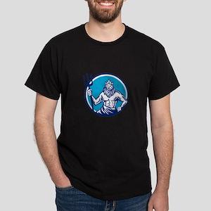 Poseidon Trident Circle Woodcut T-Shirt
