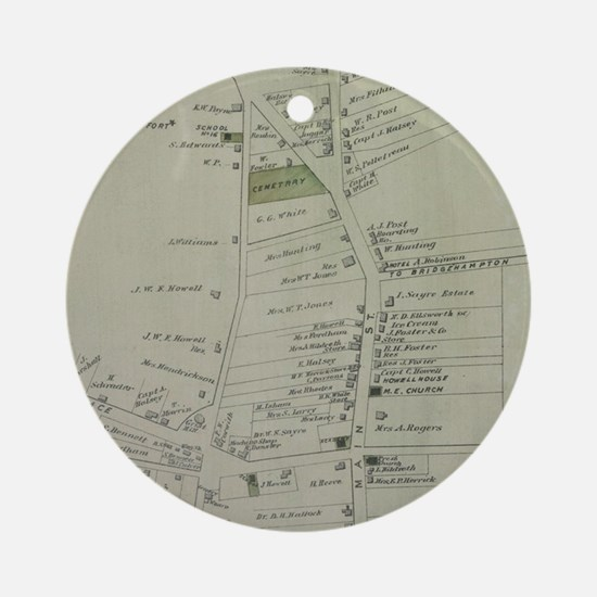 Vintage Map of Southampton New York Round Ornament