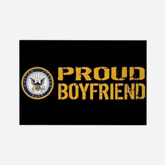 U.S. Navy: Proud Boyfriend (Black Rectangle Magnet