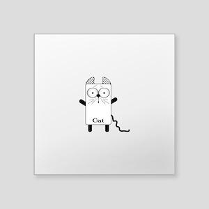 """Cat Phone Square Sticker 3"""" x 3"""""""