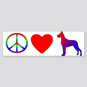 Peace, Love, Great Dane Bumper Sticker