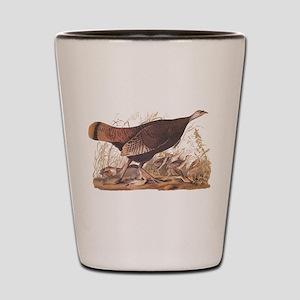 Wild Turkey Hen with Chicks Audubon Boo Shot Glass