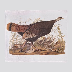 Wild Turkey Hen with Chicks Audubon Throw Blanket