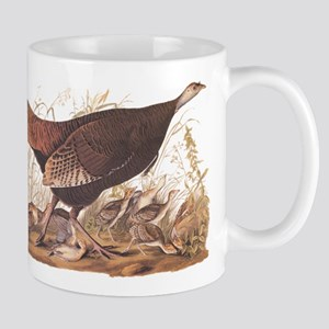 Wild Turkey Hen with Chicks Audubon Bookplate Mugs