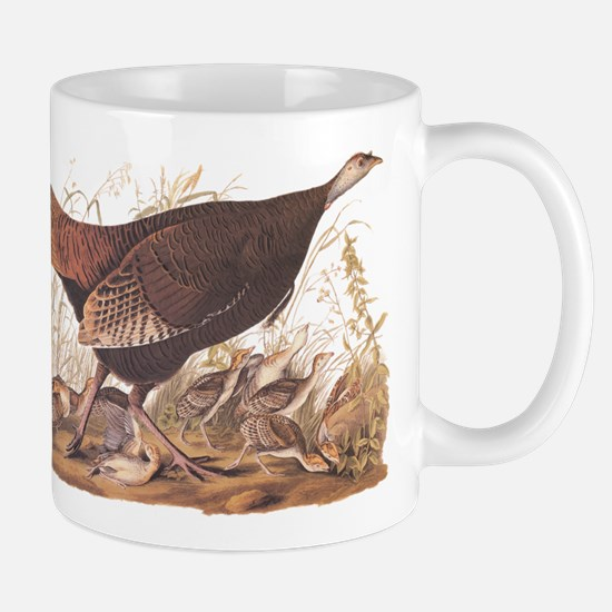 Wild Turkey Hen with Chicks Audubon Bookplate Mugs