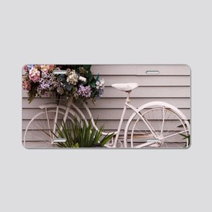 Beach Bicycle With Flower B Aluminum License Plate